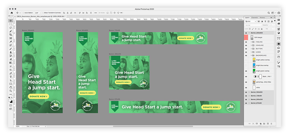 Examples of web display ads and a layered Photoshop template that can be used by GBCA to efficiently create future display ads in five of the most commonly used sizes.
